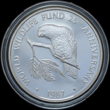 5 Долларов 1987 25 лет Всемирному фонду дикой природы (0.925, 28.28г), Каймановы Острова, фото №2