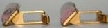 Латунные позолоченные запонки с камнем (СССР), фото №4
