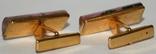Латунные позолоченные запонки с камнем (СССР), фото №5