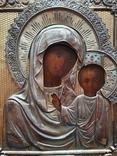 Икона Богородицы. Серебряный кованый оклад 84пр. Аналой., фото №5