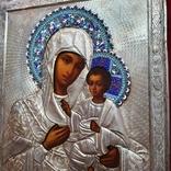 Икона Богородицы. Эмаль, серебро 84пр. Аналой., фото №5