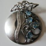 Кулон подвеска с голубыми и белыми камнями, фото №2