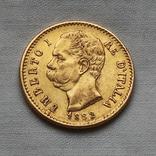 20 лир 1882 г Италия золото 6,45 г, фото №2