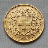 20 франков 1902 г Швейцария золото 6.50 г, фото №3