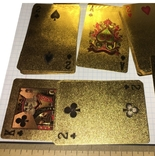 Позолоченные игральные карты (24K) 100 долларов / сувенірні гральні карти, 54 шт, фото №3