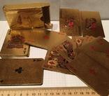Позолоченные игральные карты (24K) 100 долларов / сувенірні гральні карти, 54 шт, фото №6
