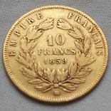 10 франков 1859 г Наполеон III Франция золото 3.20 г, фото №3