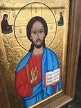 Икона Иисуса Христа живопись на металле 47х32 см, фото №7