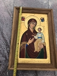 Икона Богородицы живопись на металле 47х32 см, фото №5