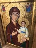 Икона Богородицы живопись на металле 47х32 см, фото №7