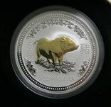Год СВИНЬИ, 1-й Лунар, Австралия, 2007 - унция, серебро ПОЗОЛОТА, фото №2