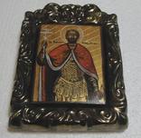 Икона дорожная Св. князь Игорь в старинной рамке, фото №4