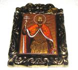 Икона дорожная Св. князь Игорь в старинной рамке, фото №9
