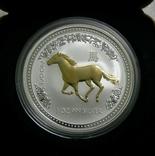 Год ЛОШАДИ, 1-й Лунар, Австралия, 2002 - унция, серебро ПОЗОЛОТА, фото №2