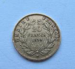 20 Франків 1859 Франція 6,45 гр. 900, фото №3