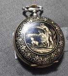 """Swiss pocket watch. Часы карманные. Швейцария. Тематические """"Охота""""., фото №4"""
