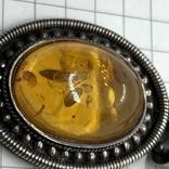 Подвес серебро с янтарем на цепочке, фото №6