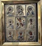 Девяти частная  аналойная икона  в серебряном позолоченном окладе 84пр., фото №3