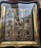 Девяти частная  аналойная икона  в серебряном позолоченном окладе 84пр., фото №4