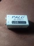 Акумулятор PALO 650мА тип крона мікроUSB, фото №3