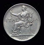 Италия 1 лира 1928 редкий год, фото №2