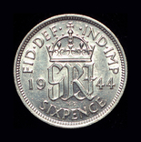 Великобритания 6 пенсов 1944 серебро, фото №3
