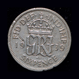 Великобритания 6 пенсов 1939 серебро, фото №3