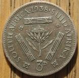 3 пенса 1938 ЮАР, фото №2