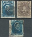 Бе01 Британские колонии. Ньюфаундленд 1877-1880 №№ 29, 31 и 33 (26 евро), фото №2