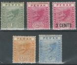 Бж03 Британские Малайские княжества. Перак 1892-1895 №№ 14-18* (полная серия, 15 евро), фото №2