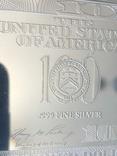 Серебряная Банкнота 100 долларов США 2009 год.4 унции серебра 999.9 пробы., фото №6