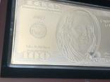 Серебряная Банкнота 100 долларов США 2009 год.4 унции серебра 999.9 пробы., фото №7