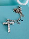 TiffanyCo платиновый крестик с цепочкой и бриллиантами, фото №8