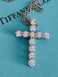 TiffanyCo платиновый крестик с цепочкой и бриллиантами, фото №10