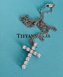TiffanyCo платиновый крестик с цепочкой и бриллиантами, фото №11