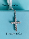 TiffanyCo платиновый крестик с цепочкой и бриллиантами, фото №12