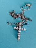 TiffanyCo платиновый крестик с цепочкой и бриллиантами, фото №13
