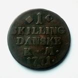 Дания 1 скиллинг 1771 г. Кристиан VII, фото №4
