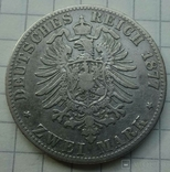 2 марки. Вюртемберг, 1877 год., фото №6