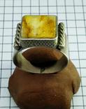 Перстень 8 грамм. Янтарь пейзажный, фото №4