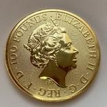 100 фунтов 2021 г. Британия (31,1 г. 999,9), фото №2