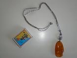 Янтарь подвеска, кулон на серебряной цепочке, фото №6