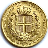 20 лир. 1834. Карл Альберт. Сардиния (золото 900, вес 6,40 г), фото №4
