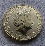 100 фунтов 2021 год Англия золото 21,1 грамм 999,9, фото №3