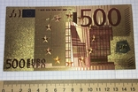 Позолоченная сувенирная банкнота 500 Euro в защитном файле, конверте / сувенір, фото №7