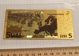 Золотая сувенирная банкнота 5 Euro (24K) в защитном файле / золота сувенірна банкнота, фото №6