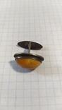 Серебренная запонка 875 с головой. С янтарем., фото №6