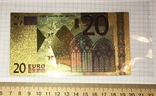 Позолоченная сувенирная банкнота 20 Euro (24K) в защитном файле / сувенірна банкнота, фото №3