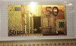 Позолоченная сувенирная банкнота 50 Euro (24K) в защитном файле / сувенірна банкнота, фото №4