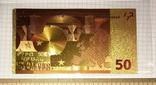 Позолоченная сувенирная банкнота 50 Euro (24K) в защитном файле / сувенірна банкнота, фото №6